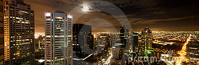 Melbourne city skyline at night panorama