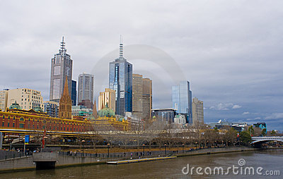 Melbourne City Skyline in Winter
