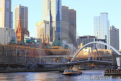 Melbourne city and train station at Yarra river Editorial Stock Image