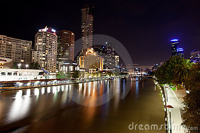 Melbourne City and Yarra River at night Editorial Photo