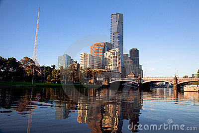 Melbourne City and Yarra River at Sunrise Editorial Stock Image