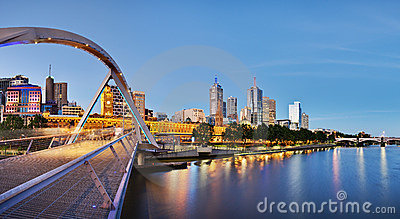 Melbourne at dusk from the Yarra River