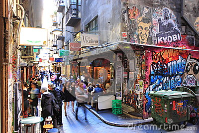 Melbourne lane street art graffiti Editorial Stock Image