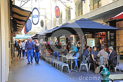 Melbourne lane cafe restaurant Editorial Stock Photo