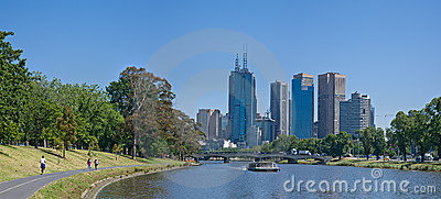 Melbourne skyline along the Yarra River
