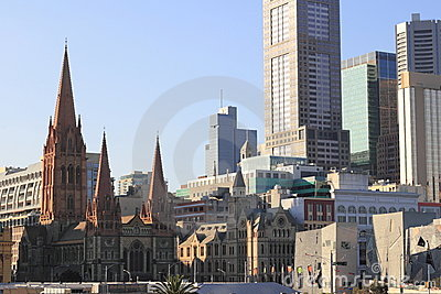 Melbourne city buildings with cathedral