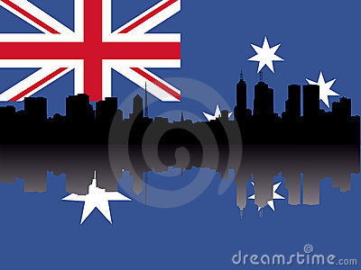 Melbourne Skyline with flag