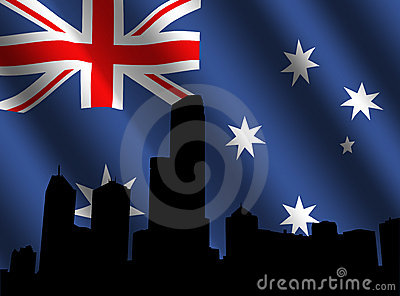 Melbourne skyline and flag