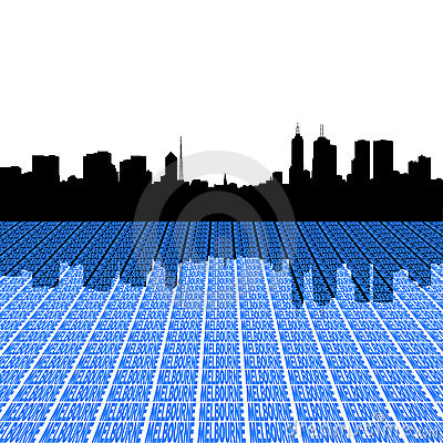 Melbourne skyline with text