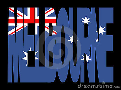Melbourne text with flag