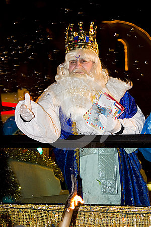 Melchior King at the Biblical Magi parade Editorial Stock Image