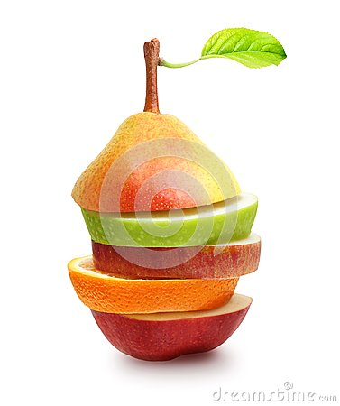 Mele, frutta arancio e fette della pera