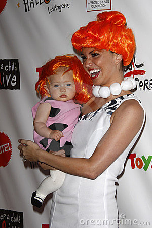 Melissa Ryecroft, daughter Ava arriving at the 18th Annual  Dream Halloween Los Angeles  Editorial Photography