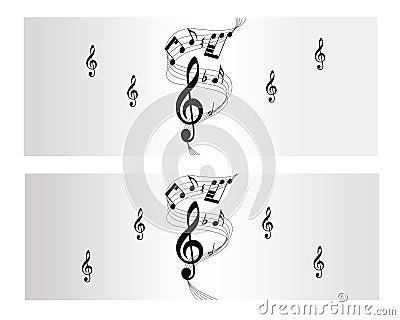 Melodii, notatki i muzyki wektoru sztandar,