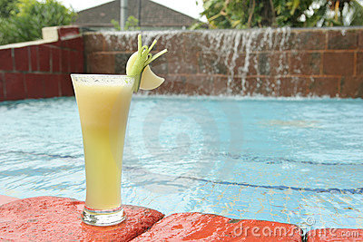 Melon fruit juice at pool