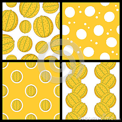 Melon Fruit Seamless Patterns Set