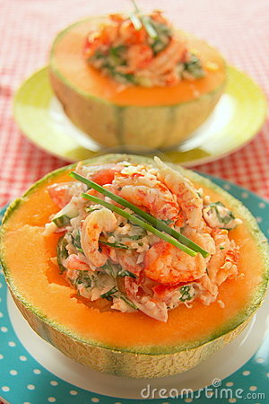 Free Melon With Seafood Royalty Free Stock Photography - 6412157
