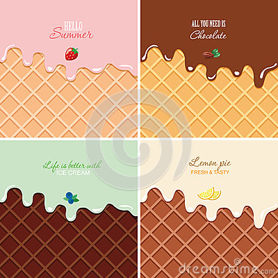 Free Melted Cream On Wafer Background Set - Strawberry, Chocolate, Blueberry, Lemon. Ice Cream Macro Texture With Copy Space Royalty Free Stock Photography - 85679107