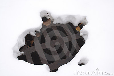 Melted hole in snow