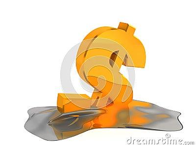 Melting dollar sign