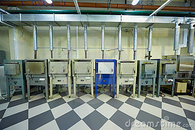 Melting furnaces area at the factory