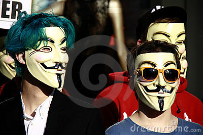 Members of Anonymous - Guy Fawkes mask Editorial Photo
