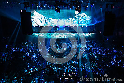 Members of ARMIN ONLY: Intense show with Armin van Buuren in Minsk-Arena on February 21, 2014 Editorial Stock Image
