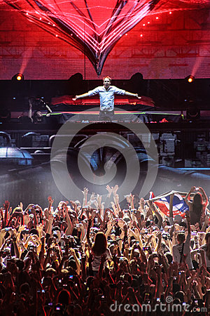 Members of ARMIN ONLY: Intense show with Armin van Buuren in Minsk-Arena on February 21, 2014 Editorial Photography