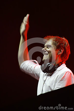Members of ARMIN ONLY: Intense show with Armin van Buuren in Minsk-Arena on February 21, 2014 Editorial Photo