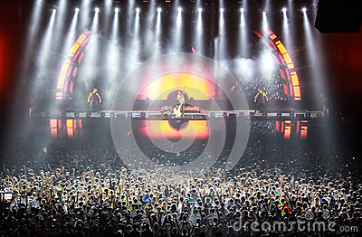 Members of ARMIN ONLY: Intense show with Armin van Buuren in Minsk-Arena on February 21, 2014 Editorial Stock Photo