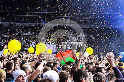 Members of ARMIN ONLY: Intense show with Armin van Buuren in Minsk-Arena on February 21, 2014 Editorial Image