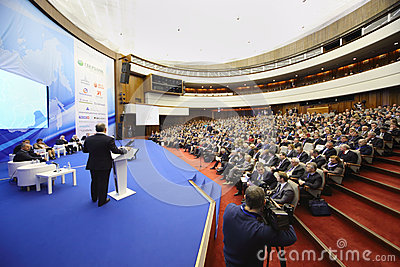 Members of Forum on stage and audience Editorial Stock Image