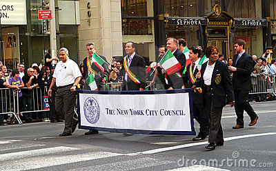 Members of NYC council on parade. Editorial Stock Image