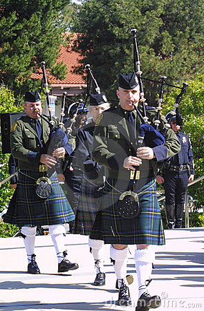 Memorial Bagpiper Editorial Photography