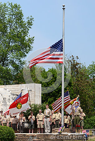 Memorial day - Boy scouts respect the flag Editorial Photo