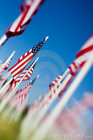Memorial Day USA flags arrangement