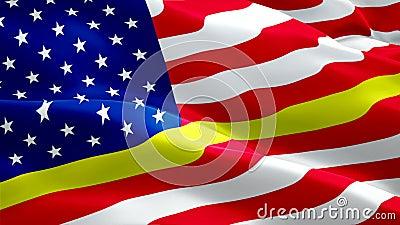 911 Memorial Responder Flag Wave Loop im Wind schweben Dünne Goldline-Notfall-Ansprechpartner Flaggenhintergrund 911 Responder Fl lizenzfreie abbildung