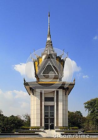 The memorial stupa of the Choeung Ek Killing Fields, Cambodia