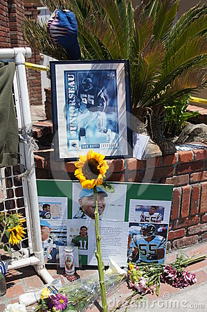 Memorial to Junior Seau in Oceanside, California Editorial Photography