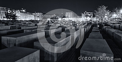 Memorial to the Murdered Jews of Europe at night Editorial Stock Image