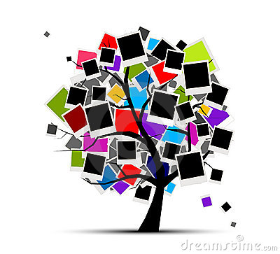 Memories tree with photo frames, insert picture