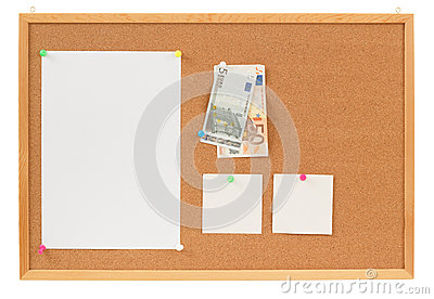 Memory note paper with Euro moneys concept