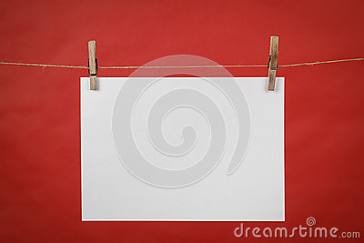 Memory note white paper hanging on cord