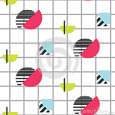 Memphis retro 80s seamless pattern. Vector Illustration