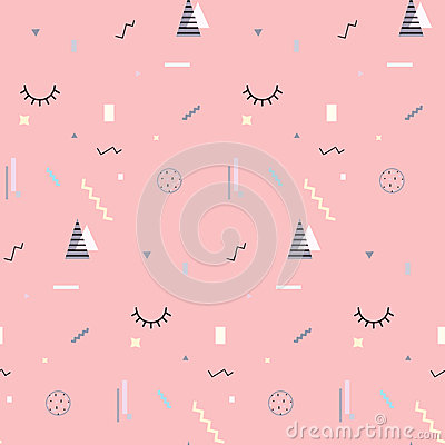 Free Memphis Seamless Pattern 80`s-90`s Styles. Trendy . Colorful Geometric Background, Different Shapes. Vector Illustration Royalty Free Stock Photo - 89159635