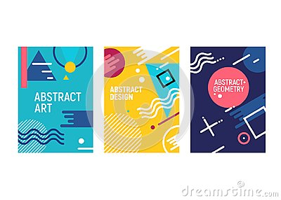 Memphis style cards geometric trendy fashion background design. Memphis shape graphic pattern cover poster template Vector Illustration