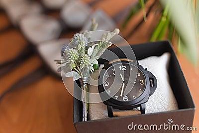 Men accessories. Men watch Stock Photo