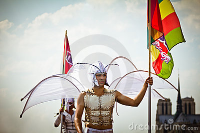 Men in angel costumes during Gay Pride Editorial Image