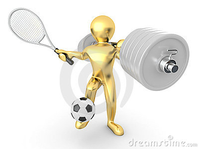 Men with barbell, racket and ball