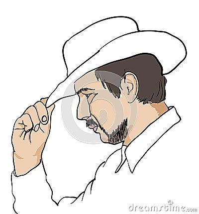 Men in black hat over white